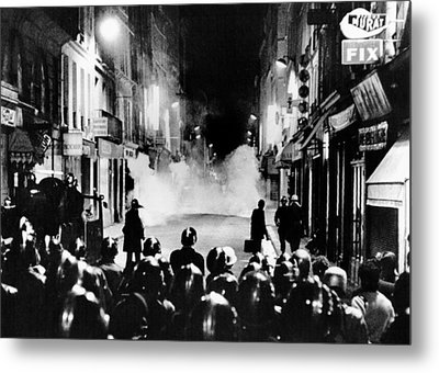 Riot Policemen At A Burning Barricade Metal Print by Everett