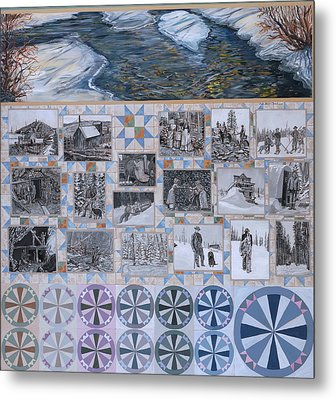 River Mural Winter Panel Bottom Half Metal Print by Dawn Senior-Trask