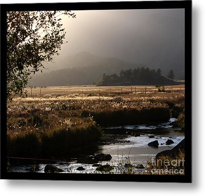 River Sunset With Border Metal Print