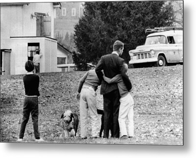 Robert Kennedy Is Comforted By Two Metal Print by Everett