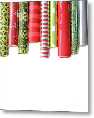 Rolls Of Colored Wrapping  Paper On White3 Metal Print by Sandra Cunningham
