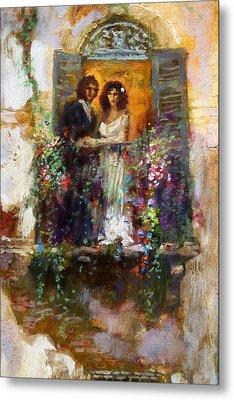 Romance In Venice  Fragment Balcony Metal Print by Ylli Haruni