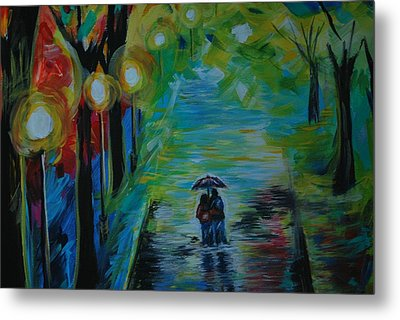 Metal Print featuring the painting Romantic Stroll Series 1 by Leslie Allen