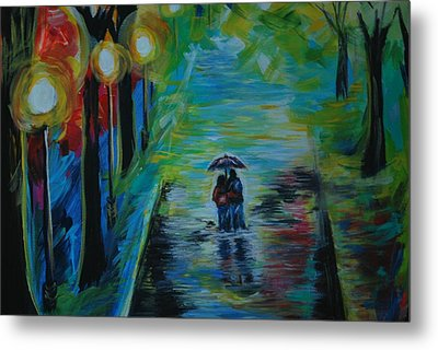 Metal Print featuring the painting Romantic Stroll Series II by Leslie Allen