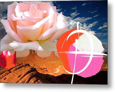 Rosa Desert Crucio Metal Print by Geronimo