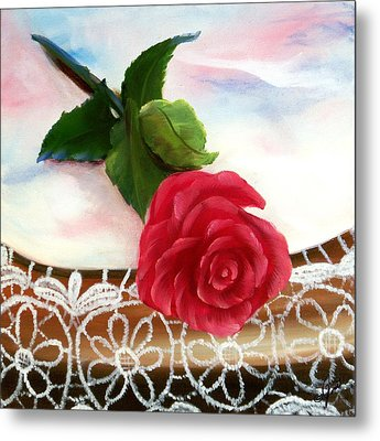 Rose And Lace Metal Print by Joni McPherson