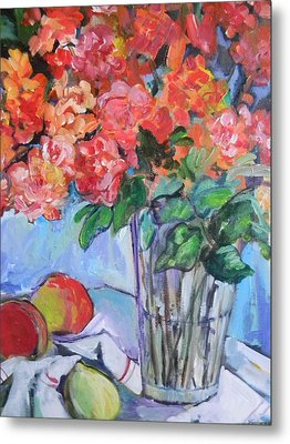 Roses And Peaches Metal Print by Carol Mangano