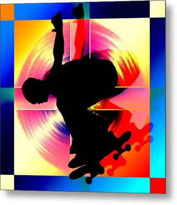 Round Peg In Square Hole Skateboarder Metal Print by Elaine Plesser