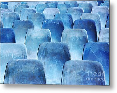 Rows Of Blue Chairs Metal Print by Carlos Caetano