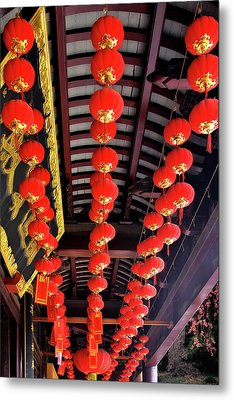 Rows Of Red Chinese Paper Lanterns - Shanghai China Metal Print by Christine Till