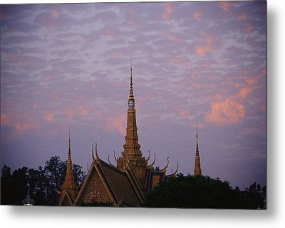 Royal Palace Rooftop At Dawn, Phnom Metal Print by Steve Raymer