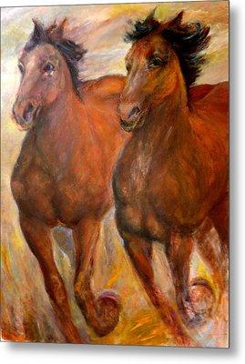 Running Horses Metal Print