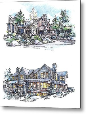 Metal Print featuring the drawing Rustic Home by Andrew Drozdowicz