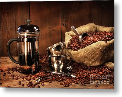 Sack Of Coffee Beans With French Press Metal Print by Sandra Cunningham