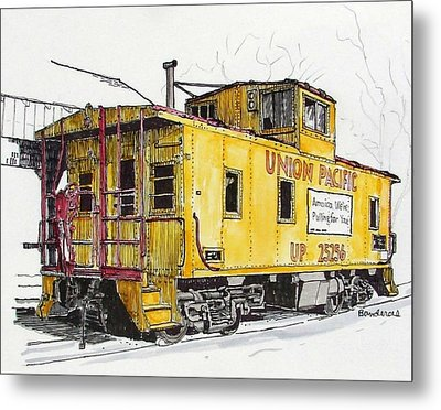 Metal Print featuring the painting Sacramento Caboose by Terry Banderas