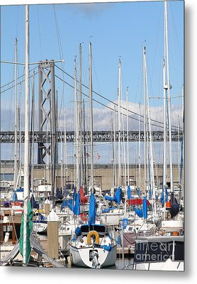Sail Boats At San Francisco China Basin Pier 42 With The Bay Bridge In The Background . 7d7683 Metal Print by Wingsdomain Art and Photography