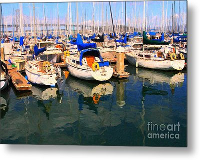 Sail Boats At San Francisco's Pier 42 . Dark Version Metal Print by Wingsdomain Art and Photography