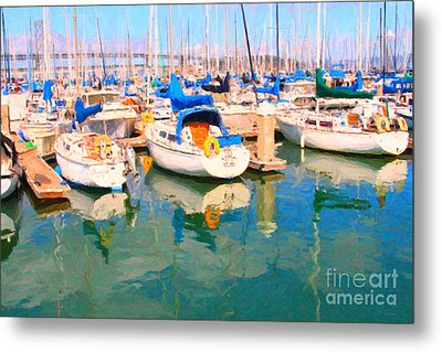 Sail Boats At San Francisco's Pier 42 Metal Print by Wingsdomain Art and Photography
