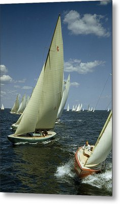 Sailboats Cross A Starting Line Metal Print by B. Anthony Stewart