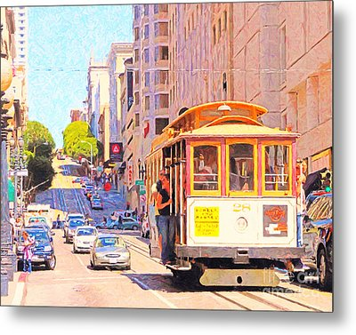 San Francisco Cablecar Coming Down Powell Street Metal Print by Wingsdomain Art and Photography