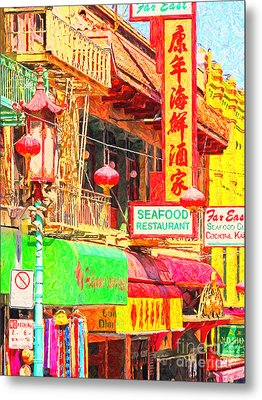 San Francisco Chinatown Shops Metal Print by Wingsdomain Art and Photography