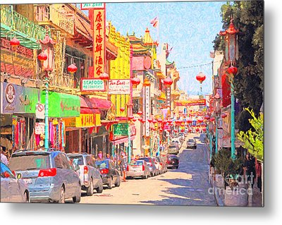 San Francisco Chinatown Metal Print by Wingsdomain Art and Photography