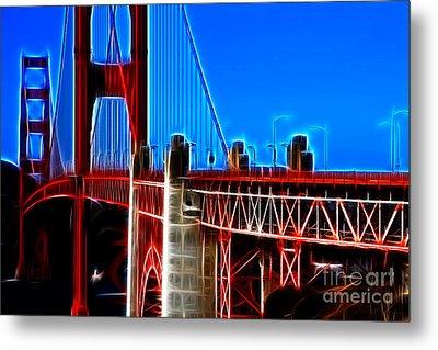 San Francisco Golden Gate Bridge Electrified Metal Print by Wingsdomain Art and Photography
