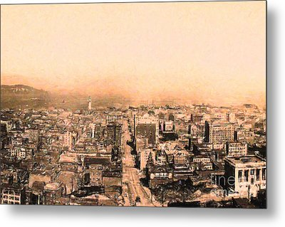 San Francisco Skyline 1909 . Ferry Building And Alcatraz Metal Print by Wingsdomain Art and Photography