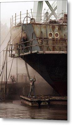 Sandblasters Restore A Soviet Ship Metal Print by Cotton Coulson