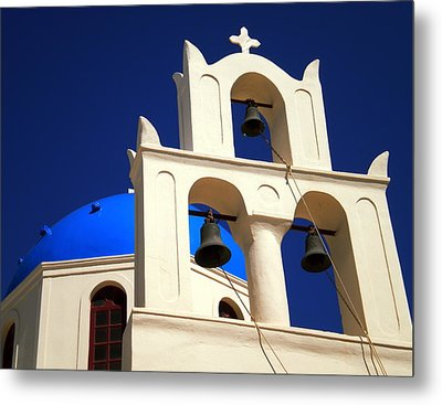 Metal Print featuring the photograph santorini Church Greee by Colette V Hera  Guggenheim