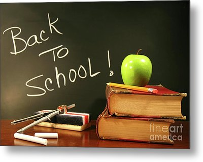 School Books With Apple On Desk Metal Print by Sandra Cunningham