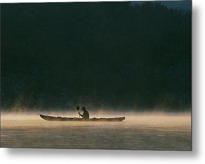 Sea Kayak Silhouette On Potomac River Metal Print by Skip Brown