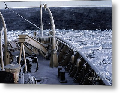 Sea Smoke, Sea Ice, And Icicles Metal Print by Science Source