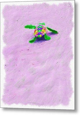Sea Turtle Escape Metal Print