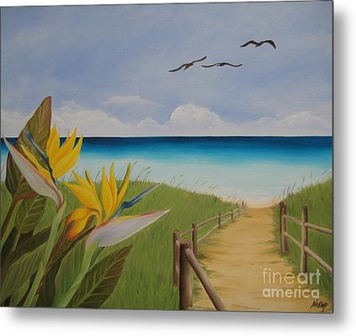 Metal Print featuring the painting Seascape by Jindra Noewi