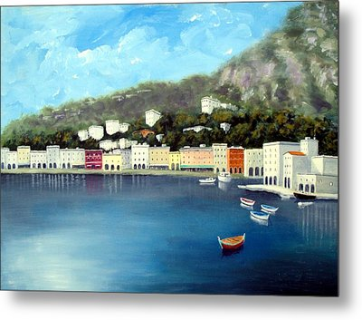Seaside Town Metal Print by Larry Cirigliano