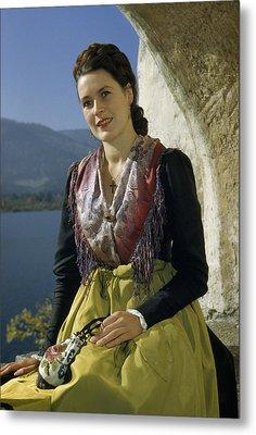 Seated Woman Wears Dirndl Skirt Metal Print by Volkmar Wentzel
