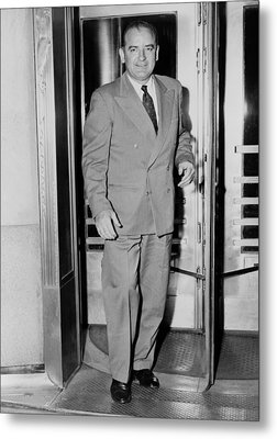 Senator Joseph Mccarthy, Leaving Metal Print by Everett