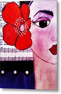 Senorita Con Flor Metal Print by Mela Lucia