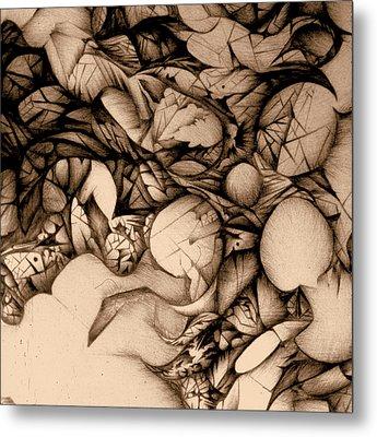 sepia VINTAGE BALLPOINT DETAIL Metal Print