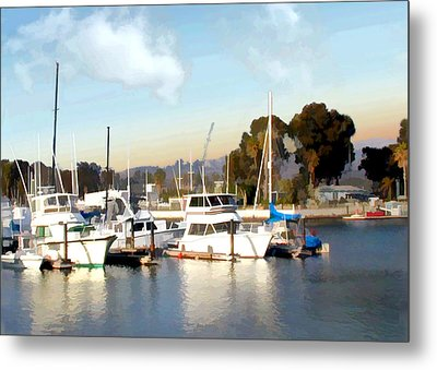 Setting Sun At Dana Point Harbor Metal Print by Elaine Plesser
