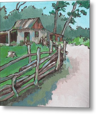 Sheep Sheering Shed Metal Print by Sandy Tracey