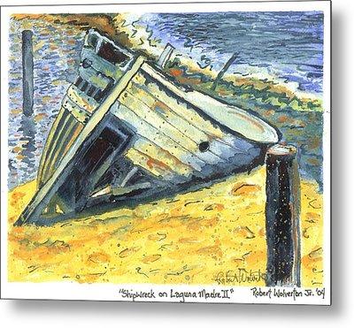 Shipwreck On Laguna Madre II Metal Print by Robert Wolverton Jr