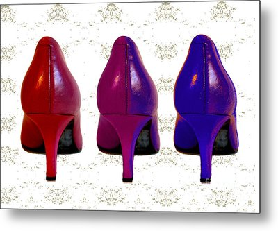 Shoes In Red To Blue Metal Print by Maralaina Holliday