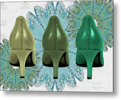 Shoes In Shades Of Green Metal Print by Maralaina Holliday