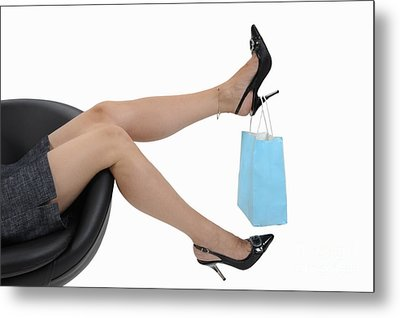 Shopping Bag Hanging On Woman's High Heels Metal Print