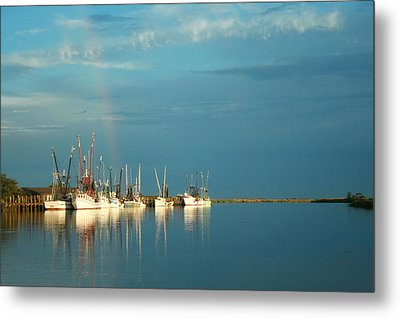 Shrimp Boats In Darien 2 Metal Print by Mary Hershberger