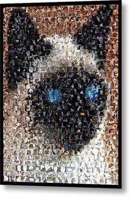 Siamese Cat Mosaic Metal Print by Paul Van Scott