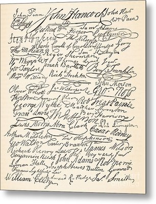Signatures Attached To The American Declaration Of Independence Of 1776 Metal Print by Founding Fathers