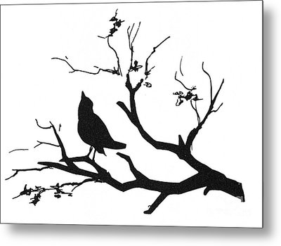 Silhouette: Bird On Branch Metal Print by Granger